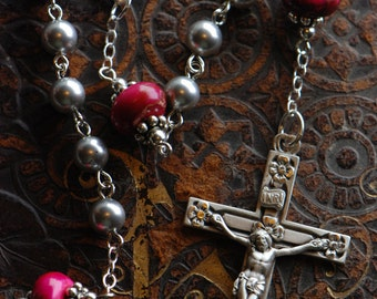 Grey Pearl & Pink Sterling Silver Rosary, Bali beads, Swarovski pearls