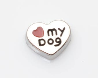 Love My Dog Floating Charm for Glass Memory Locket FC23 - 1 Charm