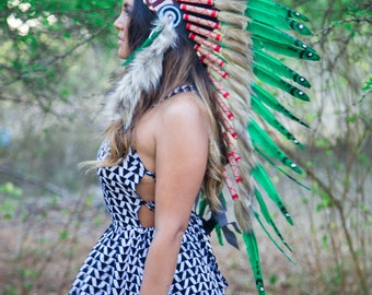 The Original - Real Feather Green Chief Indian Headdress Replica 90cm, Native American Style Costume Hand Made War Bonnet Hat
