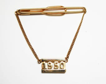 1950 Year Tie Clip w Chain - Dangling Rectangle Date on Chain Tie Bar - Vintage 1950's Men's Jewelry Mid Century Cut Out Gold Tone Number
