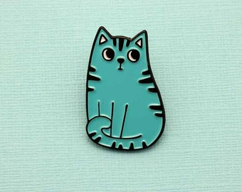 Blue Cat Enamel Pin with clutch back // lapel pins, cats rule // EP173