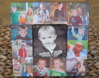 """Baby Collage Picture Frame, Baby's First Year, Unique Custom Baby Picture Frame, Personalized Mother's Day Frame, Father's Day Gift, 8"""" x 8"""""""