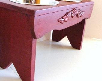 Red Elevated Dog Feeder, Dog Bowl Stand, Dog Furniture, Elevated Dog Bowl Custom