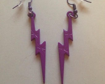 Medium zipper earrings purple