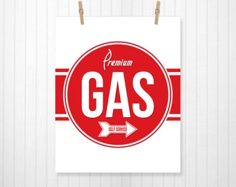 Premium Gas, Car Sign, Gas Sign, Car Art, Automotive, Car, Bathroom, Bathroom Sign, Bathroom Art, Kids Car Art, Auto, Wall Art, Custom Color