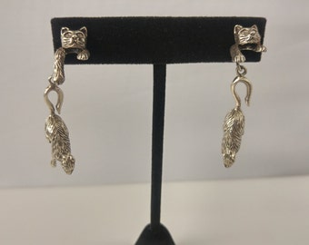 Sterling cat & mouse earrings