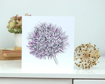 Allium watercolour and ink all-occasion illustrated greeting card
