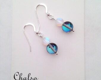 Spring Skies quartz earrings, iridescent earrings, blue quartz earrings, blue and white earrings, gift for her, summer
