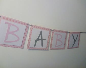 String lights baby shower pink paper