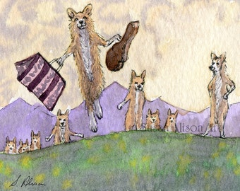 Welsh Corgi dog 5x7 8x10 11x14 art print Pembroke sound of music musical drama film Trapp family singers the hills are alive by Susan Alison