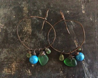 Organic copper dangles//Sea glass
