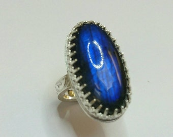 Sterling silver handmade labradorite  large oval chunky ring, hallmarked in Edinburgh