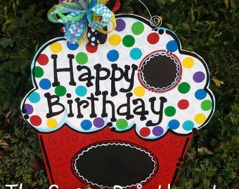 Happy birthday cupcake chalkboard door hanger