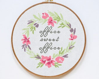 Office Sweet Office Cross Stitch Pattern, Office Modern Cross Stitch Pattern, Easy Counted Chart, PDF Format, Instant Download