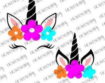 Unicorn SVG, unicorn birthday svg, Unicorn Dxf file, , Unicorn Face SVG, Cute Unicorn SVG, Cricut, Silhouette Cut File