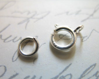 Sterling Silver Spring Ring Clasps Sets, Bulk, 6 mm, wholesale jewelry findings ...hp..