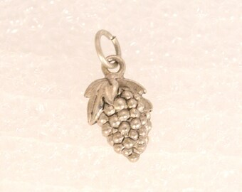 Vintage Silver Grape Cluster Charm Silver Grapes Wine Making Pendant Fob