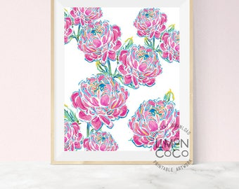 Big Pink Peony floral artwork, dorm decor, flower print, bright decor, wall print, printable decor, nature print