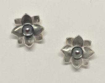 Lotus Blossom and Pearl Earrings
