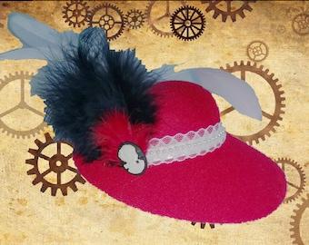 Red Steampunk Mini Hat Fascinator