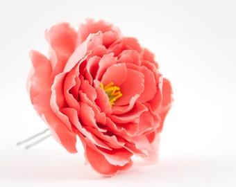 Peonies hair accessories Coral hair pins Red peonies flower hair clips Wedding hair flowers Clay flowers hair jewelry Bridal hair pieces