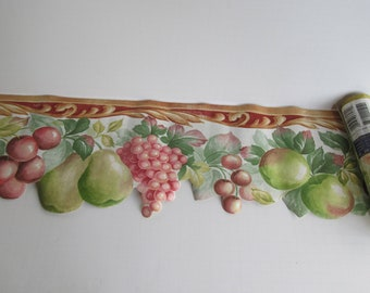 Vintage Wallpaper Boarder Colonial Wall Paper Fruit Border Fruit Decor Wide WallPaper Boarder Cut out Wallpaper Boarder Dining room Kitchen