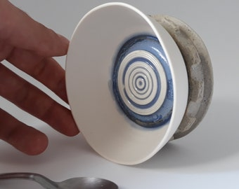 HandMade Wheel Thrown RingCups gift stoneware and porcelain decorative collectible jewel dish