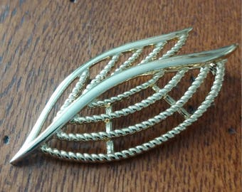 Double Leaf Gold Tone Brooch