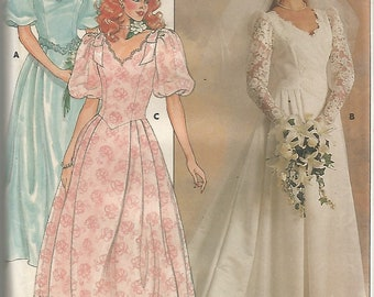 3615 Butterick Sewing Pattern Wedding Gown Bridesmaids Dress Size 10 Vintage 1980s
