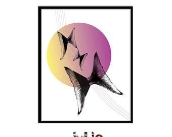 Poster 'Flying Tails', digital illustration, fishtails Butterfly design, minimalist decor