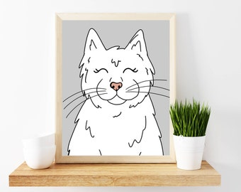 White Cat Art Print, Printable Art Print, Cat Lady, Cat Wall Art, Cat Mom, White Cat