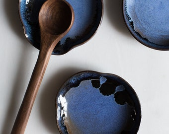 Spoon Rest in Blue on Toasted Stoneware