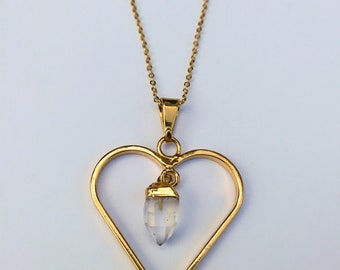 Gold Plated Clear Quartz Heart Pendant