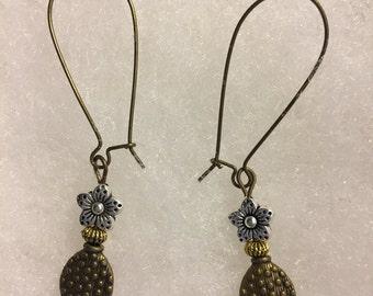 Mixed Metal Earrings, Silver, Brass, Copper, Gold, Jewelry, dangling earrings, wire earrings, unique earrings, ready to ship, boho Earrings