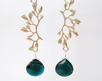 Silver Branch Teal Drop Clip-on Earrings, Faceted Dark Teal Teardrop, Long Dangle Clipons, Nature Inspired, Blue Green Stone, Teal Grove