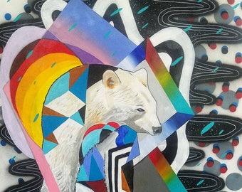 "Large colorful polar bear canvas painting ""Onward"""