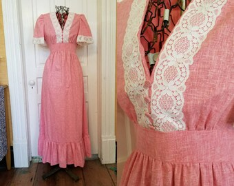 Vintage 70s pink and lace maxi dress Prairie medium