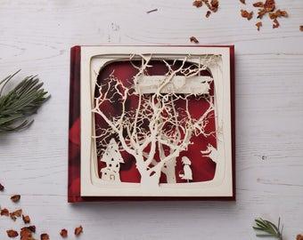 Little red riding hood picture book, book arts, artists book, paper cut gift, paper cut book, free P&P!
