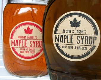 Custom Kraft Rubber Stamp Maple Syrup labels, custom maple syrup bottle labels printed with YOUR name, personalized round canning jar labels