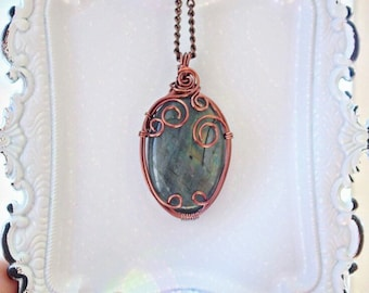 Labradorite Antique Copper Wire Wrapped Pendant Necklace