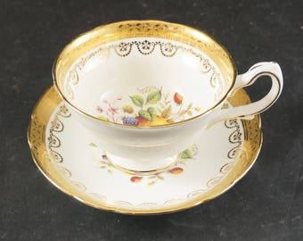 GROSVENOR Fine Bone China Cup and Saucer FRUIT with Heavy Gold Trim