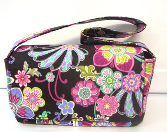 "Medium 3"" Size Coupon Organizer / Budget Organizer Holder Box - Attaches to Your Shopping Cart - Plum Floral"