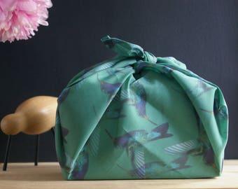 "Furoshiki ""Hummingbird"" - reusable fabric wrap - cotton voile"