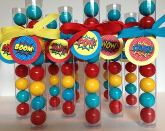 Superhero Party, Superhero Gumball Tube Party Favors, with Comic Saying Pop Art Style Tags, Set of 12, filled with Tags and Grosgrain ribbon