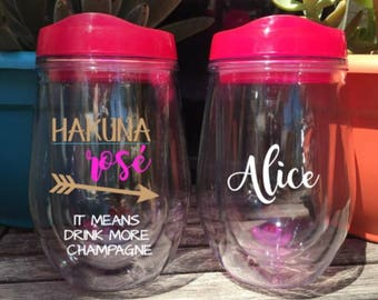 Hakuna Rose Tumbler Stemless Wine Tumbler Wine Cup Girls Weekend Bridesmaid Gift Bridal Party Bridal Gift Personalized Bachelorette Favor