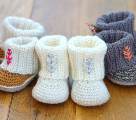 Crochet Pattern Baby Booties Baby Uggs With Rib Cuffs 4 Sizes