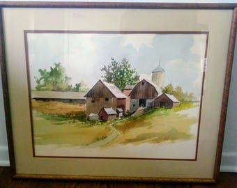 "Henry John Vohs Original Watercolor Farm Scene with Certificate of Authenticity from Merrill Chase. 25"" x 31"""