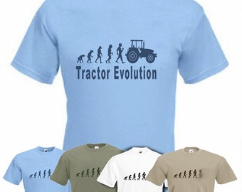 Evolution To Tractor t-shirt Funny Farming T-shirt in sizes Sm to 2XXL