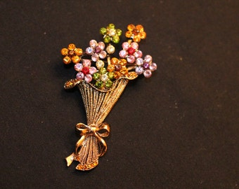Gold tone Floral Nosegay Bouquet Brooch with Pastel Rhinestones