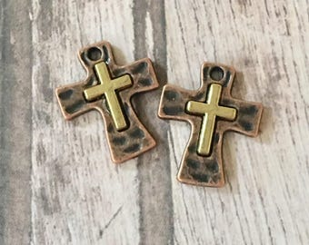 Crosses Tiny GOLD over COPPER Hammered  Perfect for Earrings